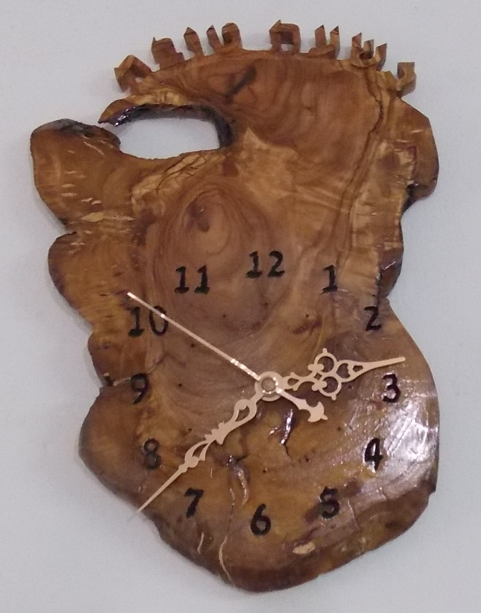 Olive wood Wall Clock